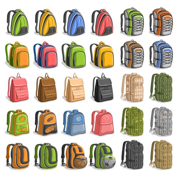 vektor-set von verschiedenen rucksäcke - lederranzen stock-grafiken, -clipart, -cartoons und -symbole