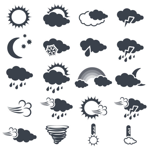 Vector set of various dark grey weather symbols, elements of forecast - icon of sun, cloud, rain, moon, snow, wind, whirlwind, rainbow, storm, tornado, thermometer Vector set of various dark grey weather symbols, elements of forecast - icon of sun, cloud, rain, moon, snow, wind, whirlwind, rainbow, storm, tornado, thermometer  - illustration extreme weather stock illustrations
