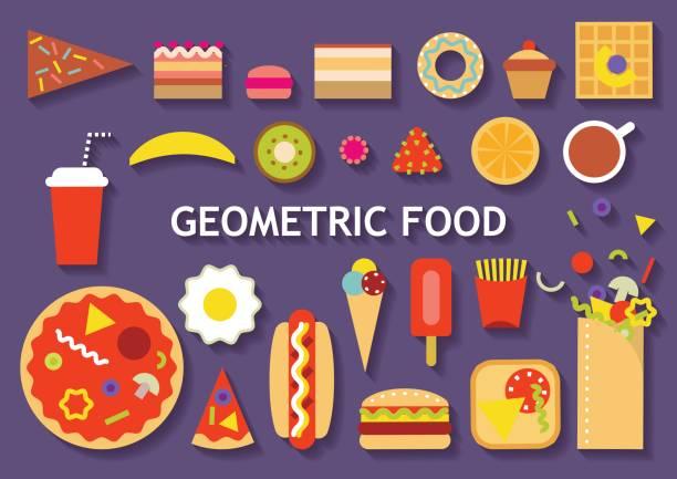 vektor-set von verschiedenen geometrischen essen. - tiramisu stock-grafiken, -clipart, -cartoons und -symbole