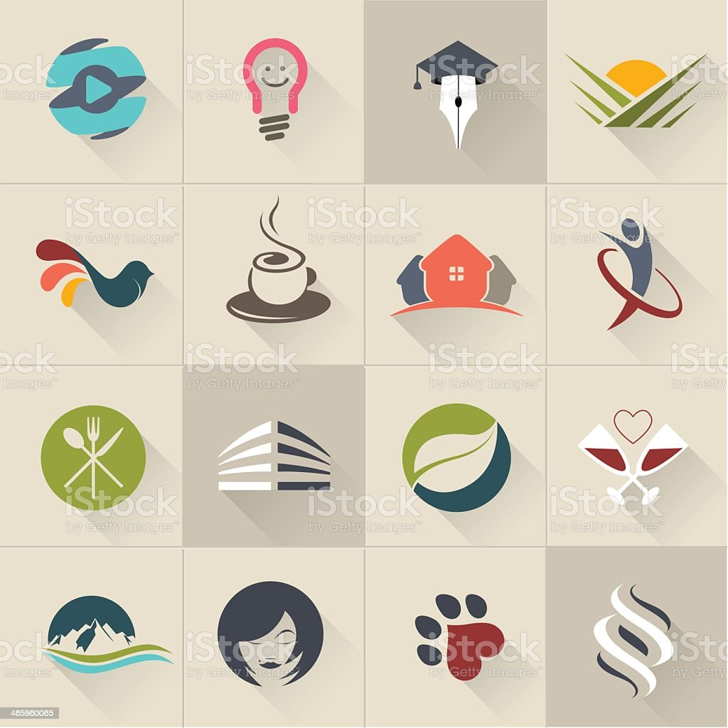A vector set of various logos in stylish colors vector art illustration