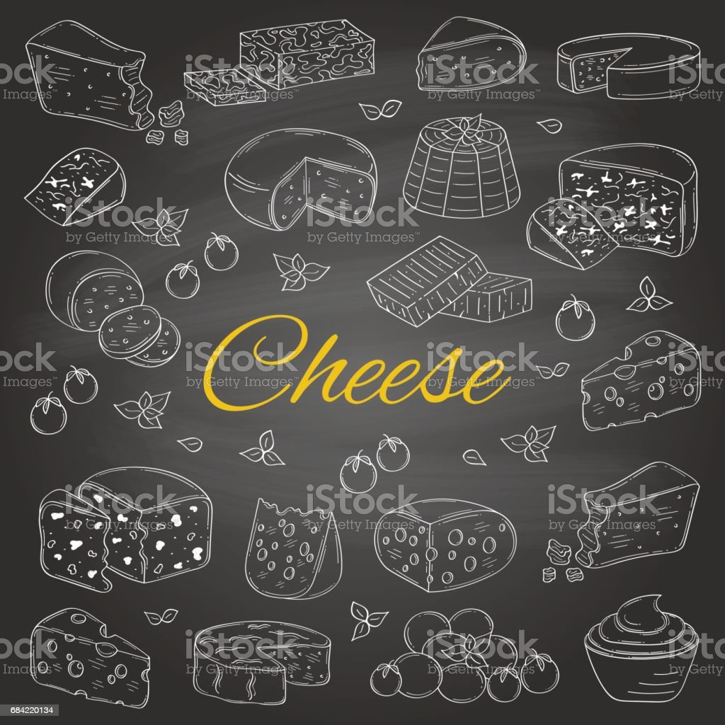 Vector set of various types of cheese, hand drawn illustration isolated on chalkboard background royalty-free vector set of various types of cheese hand drawn illustration isolated on chalkboard background stock vector art & more images of blackboard