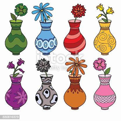 Vector Set Of Vases Study Of Colors For Children Stock Vector Art