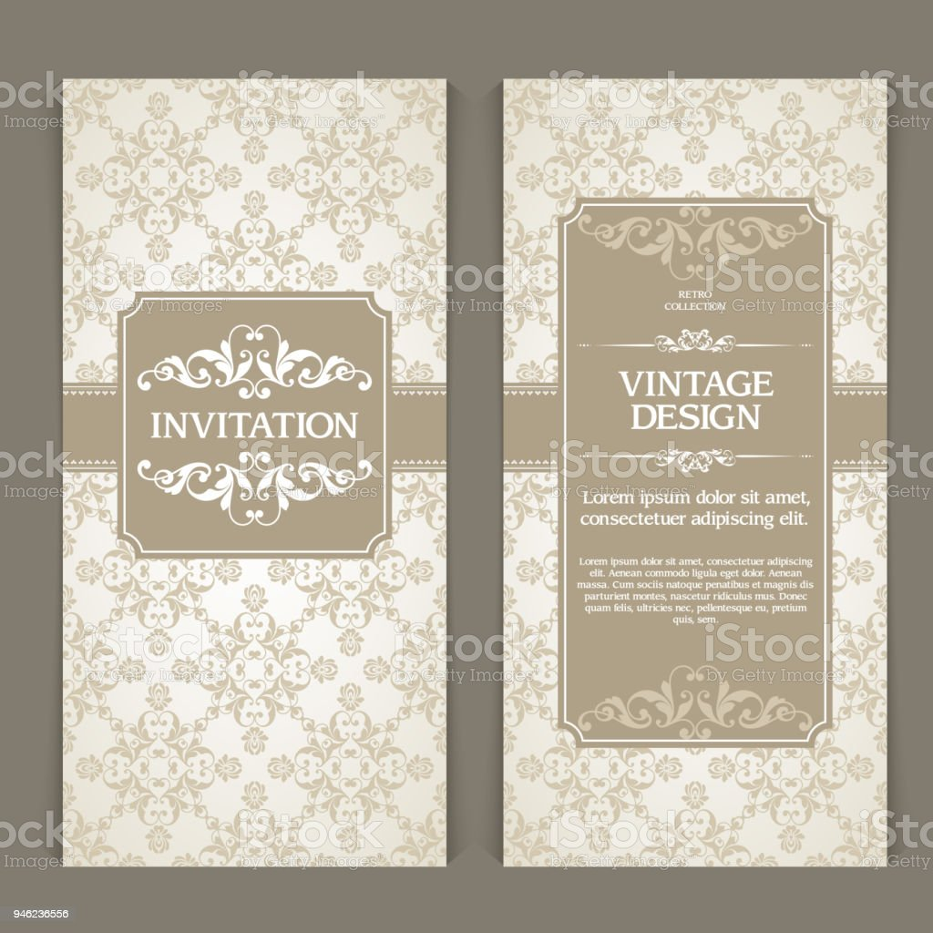Vector Set Of Vertical Banners With Ornamental Frame And