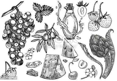 Vector set of vine products. Illustration in sketch style. Hand drawn design elements. Isolated on white background. Engraving style illustrations