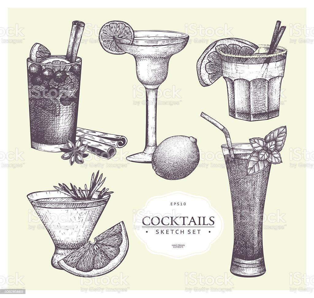 Vector set of vintage alcoholic cocktails sketch. vector art illustration
