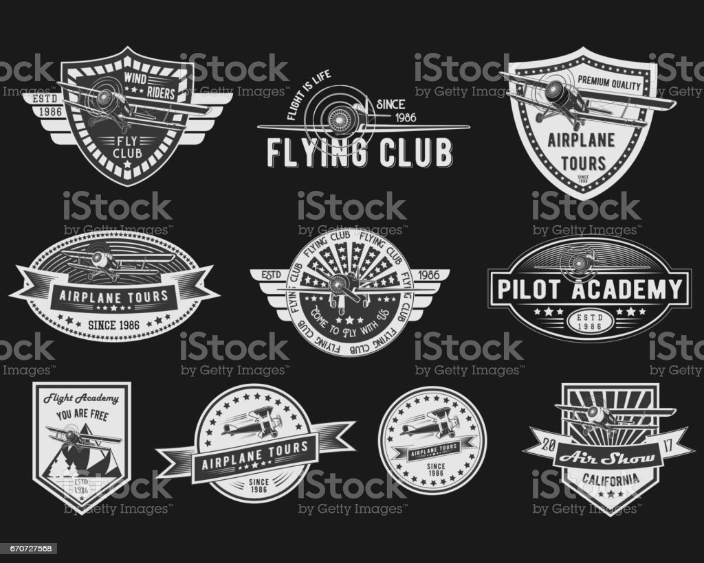 Vector set of Vintage Aviation for logo templates, icons, emblems, color graphic collection signs, air flight, tour, promotion promotion isolated on black background vector art illustration