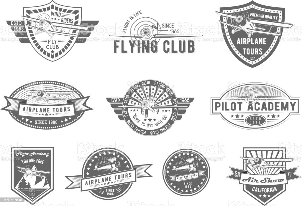 Vector set of Vintage Aviation for logo templates, icons, emblems, color graphic collection signs, air flight, tour, promotion promotion isolated on white background vector art illustration