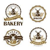Set of vintage bakery emblem. Vector design template