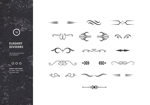 Vector Set Of Vintage Calligraphic Границ — стоковая векторная графика и другие изображения на тему Абстрактный