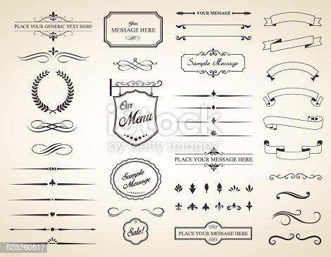 istock Vector Set of Vintage Calligraphic Elements 525260517