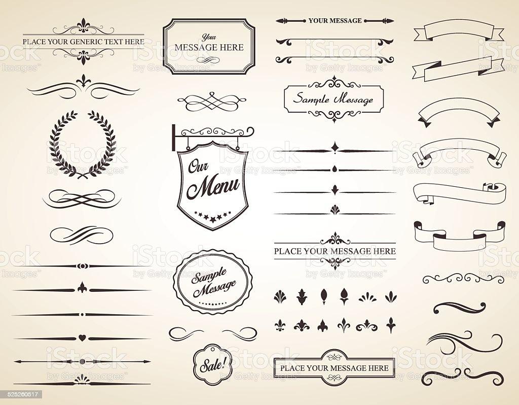Vector Set of Vintage Calligraphic Elements vector art illustration