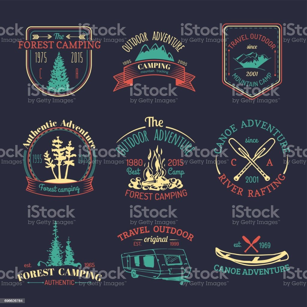 Vector Set Of Vintage Camping Badges Retro Signs Collection
