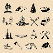 Vector set of vintage camping badges. Retro signs of outdoor adventures. Tourist sketches for emblems.