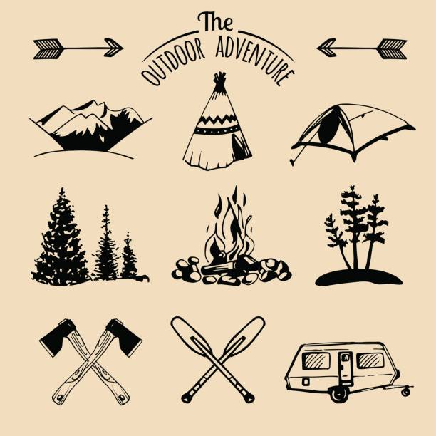 Royalty Free Camping Campfire Silhouette Bonfire Clip Art ...
