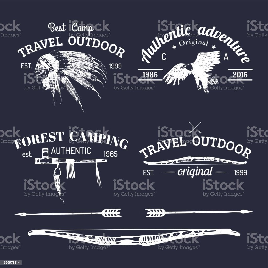 Vector Set Of Vintage Camping Signs Retro Icons Collection