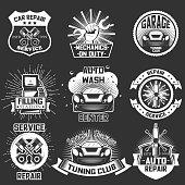 Vector set of car service emblems, badges, labels, logo in retro style. Vintage chalkboard auto repair, car wash, filling station symbols, icons, typography design elements.
