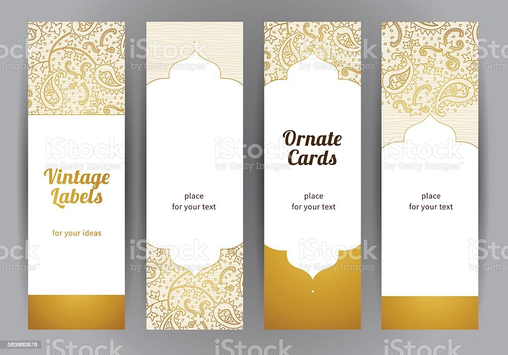 Vector set of vintage cards in Eastern style. vector art illustration