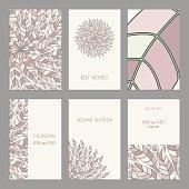 Vector Set of vintage cards  templates editable. Oriental pattern.
