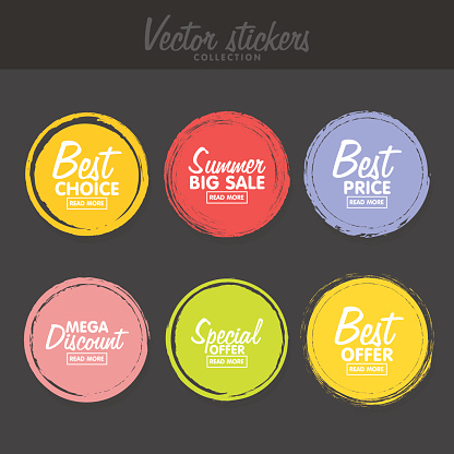 Vector set of vintage colorful  labels for greetings and promotion.