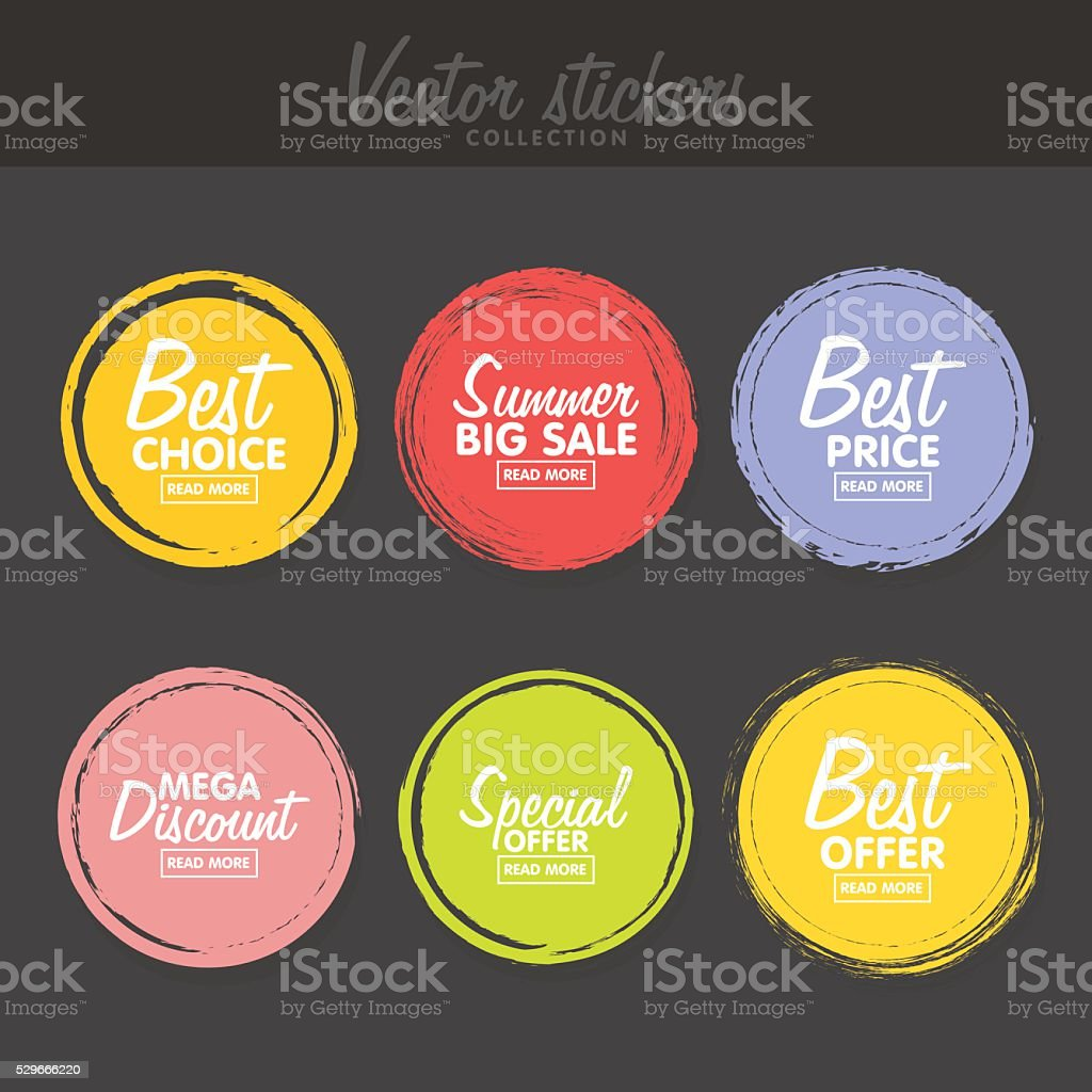 Vector set of vintage colorful  labels for greetings and promotion. vector art illustration