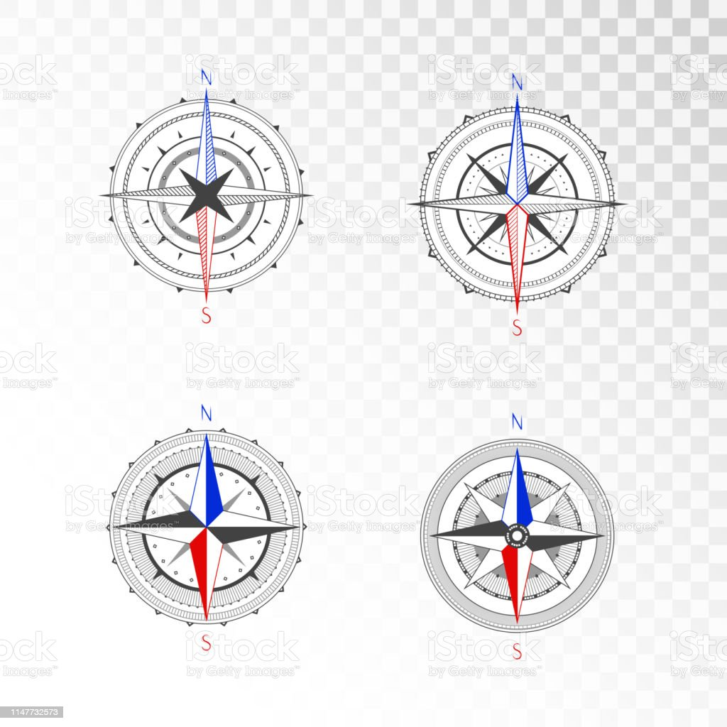 Vector set of vintage compasses or marine wind roses. Collection in...