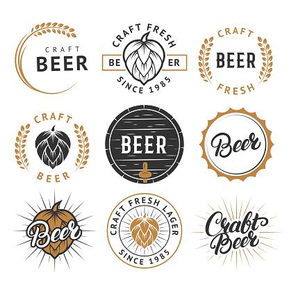 Vector set of vintage craft beer labels, badges