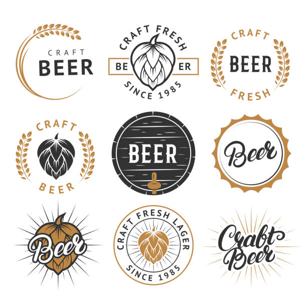 Vector set of vintage craft beer labels, badges Vector set of beer labels, emblems, badges in retro style. Vintage black and gold color craft beer symbols, icons, typography design elements on white background. ijsbeer stock illustrations