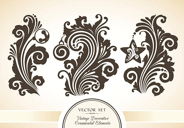 Vector set of vintage decorative Christmas objects Vector set of vintage decorative ornamental fairy and Christmas objects and symbols mistery stock illustrations