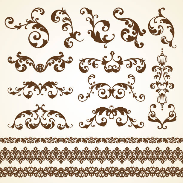 Vector set of vintage decorative ornamental page decoration calligraphic design elements for invitation, congratulation and greeting card. Vector set of vintage decorative ornamental page decoration calligraphic design elements for invitation, congratulation and greeting card mistery stock illustrations