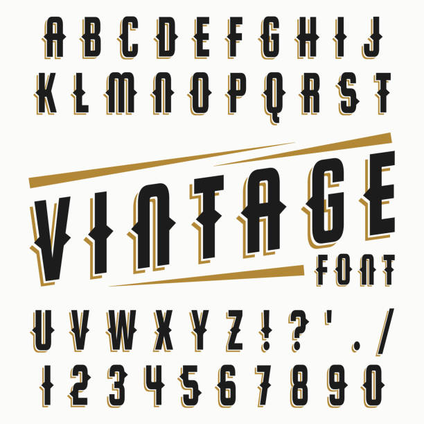 vector set of vintage font. - gothic fashion stock illustrations, clip art, cartoons, & icons
