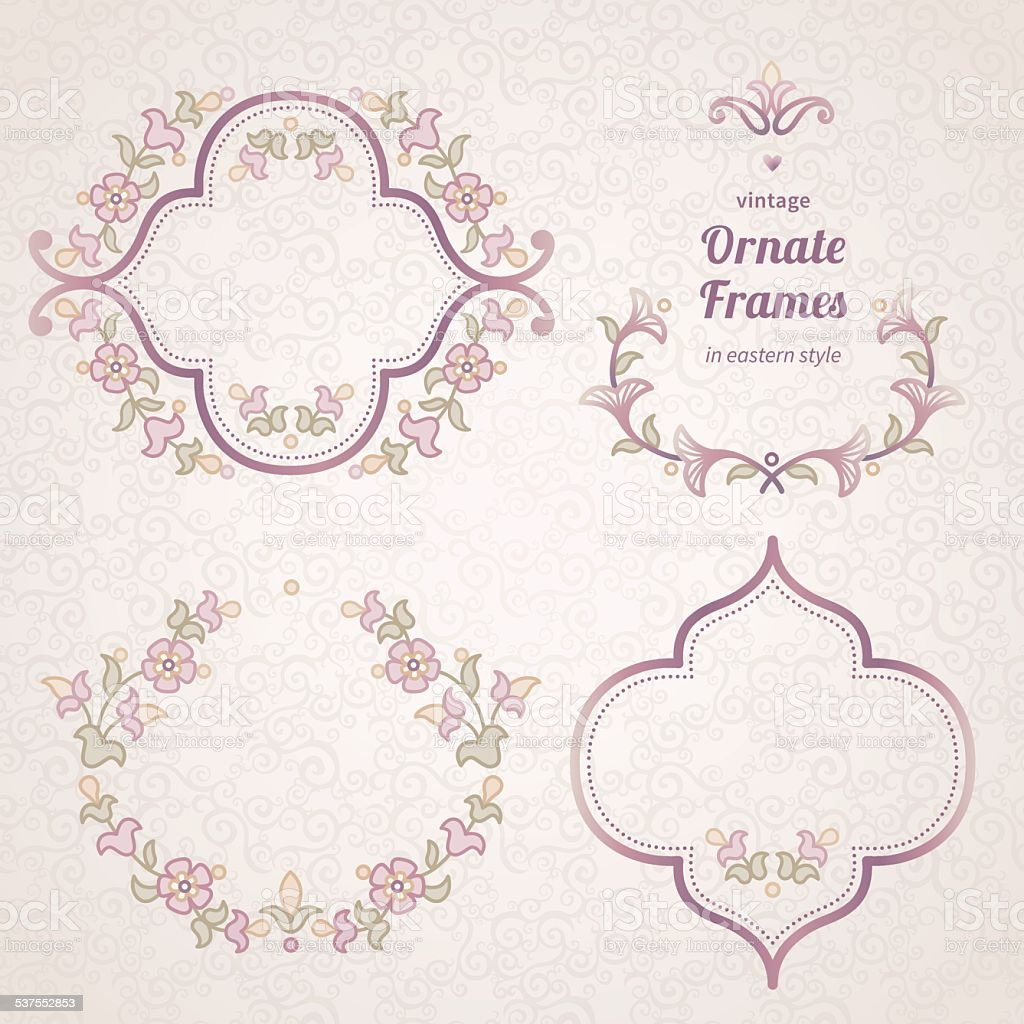 Vector set of vintage frames in Eastern style. vector art illustration