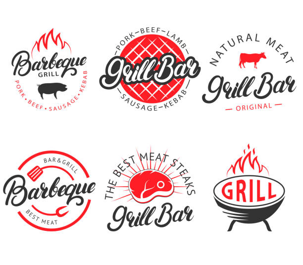 vector set of vintage grill bar bbq labels emblems - grill stock illustrations
