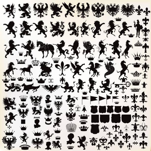 vectorsatz von klassisch-elemente für entwurf mit wappen - wappen stock-grafiken, -clipart, -cartoons und -symbole