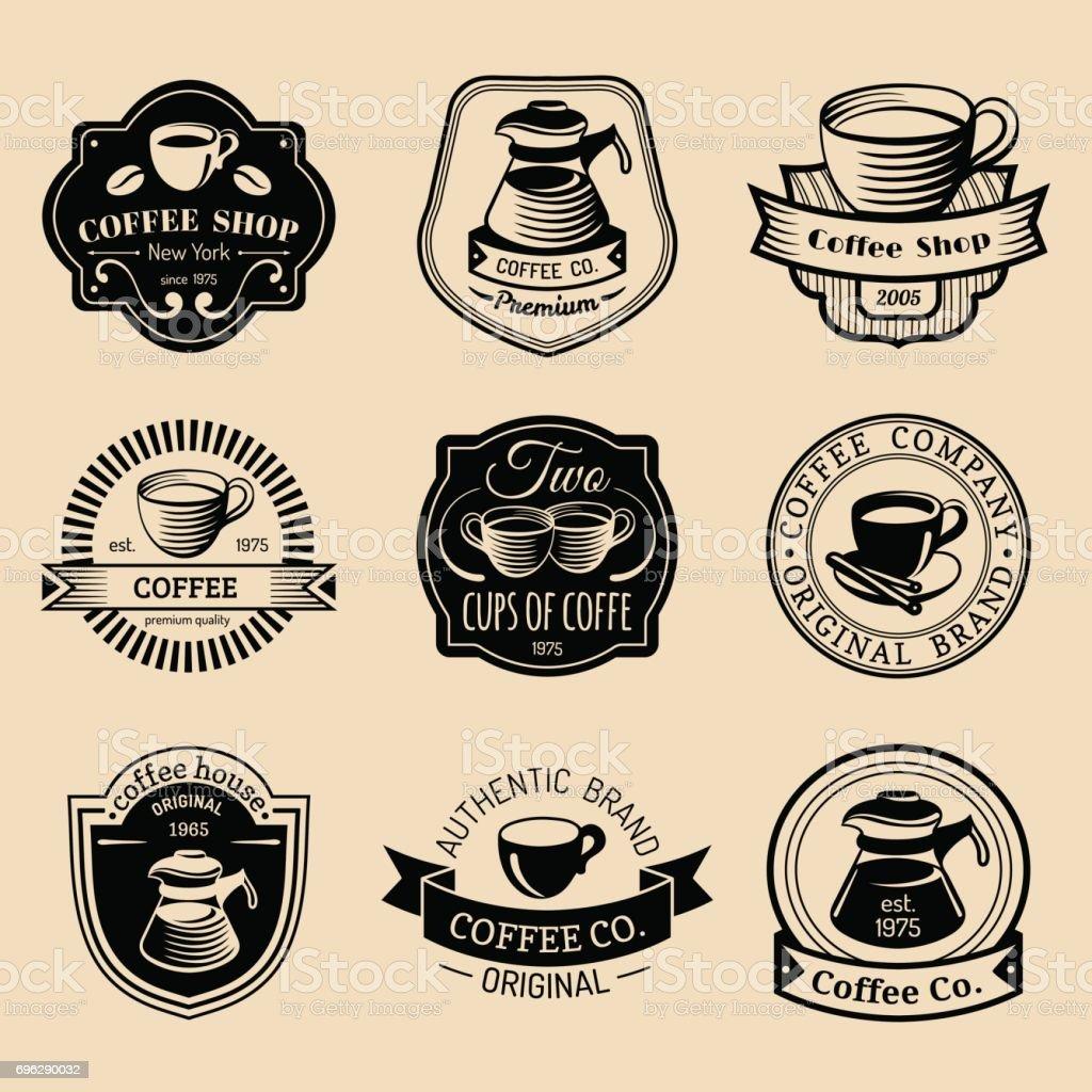 Vector set of vintage hipster coffee badges. Modern cafe shop, restaurant icons, emblems collection. vector art illustration