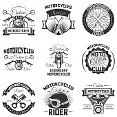 Vector set of vintage motorcycle emblems, labels, badges and s
