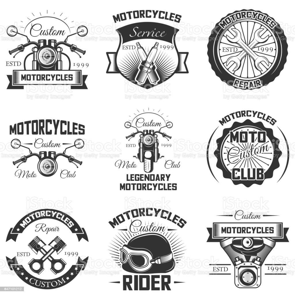 Vector set of vintage motorcycle emblems, labels, badges and s vector art illustration