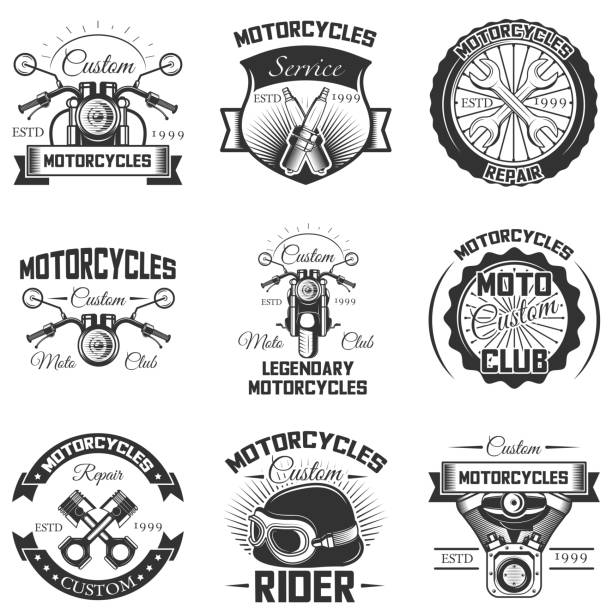 Vector conjunto de emblemas de moto vintage, etiquetas, escudos y s - ilustración de arte vectorial