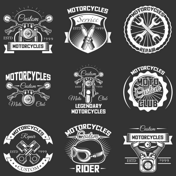 vector set of vintage motorcycle service labels - motorcycle stock illustrations, clip art, cartoons, & icons