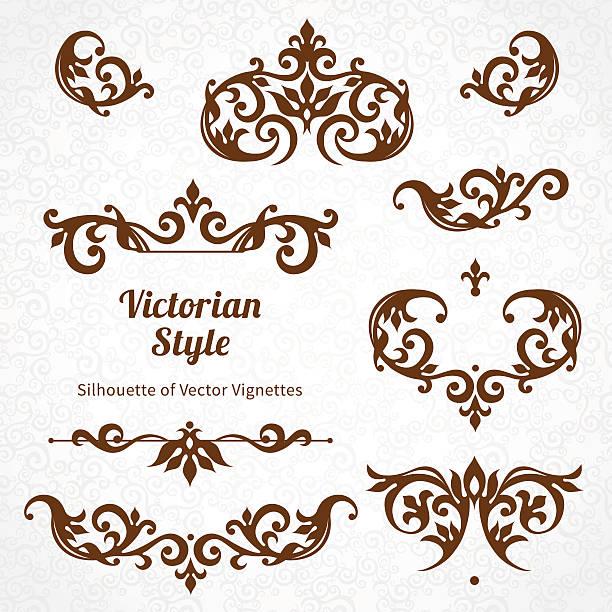stockillustraties, clipart, cartoons en iconen met vector set of vintage ornaments in victorian style. - maaswerk