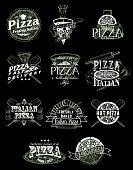Pizza emblem, logo, label and badge set, vector hand drawn illustration in retro style. Pizzeria restaurant menu vintage typography design.