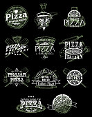 Pizza emblem, logo, label and badge set, vector hand drawn illustration in retro style. Pizzeria restaurant menu vintage typography design.
