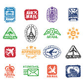 Vector set of vintage postage mail stamps