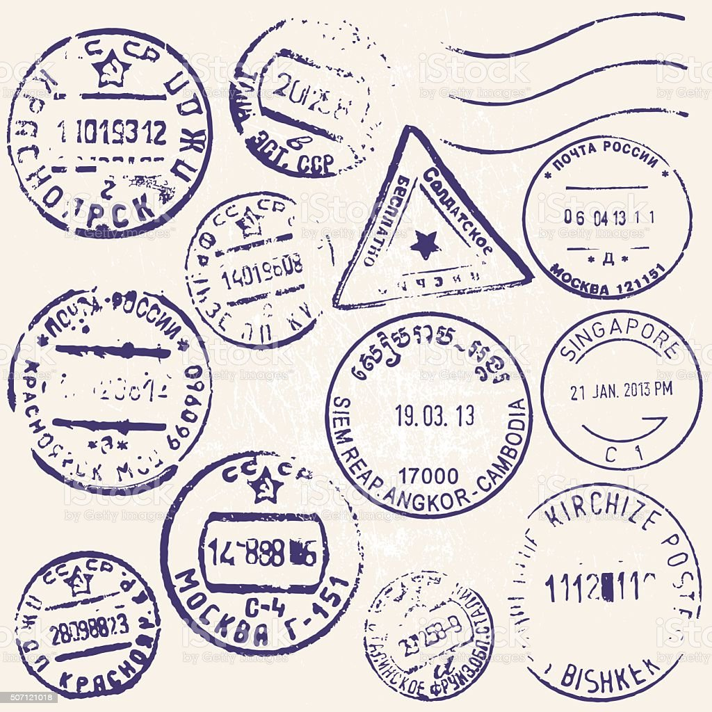 Vector set of vintage postage stamps from many countries vector art illustration