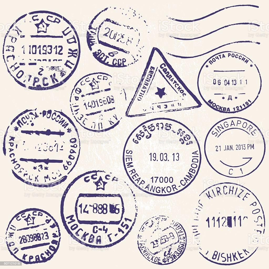 Vektor ein Satz von Jahrgang Briefmarken aus vielen Ländern – Vektorgrafik