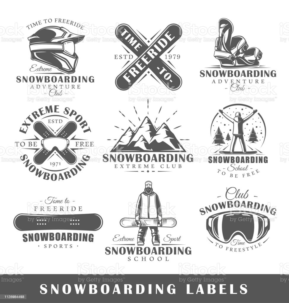 Vector set of vintage snowboarding labels. Templates for the design...