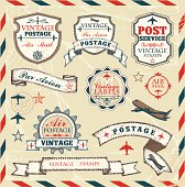 Vector set of vintage style air stamps