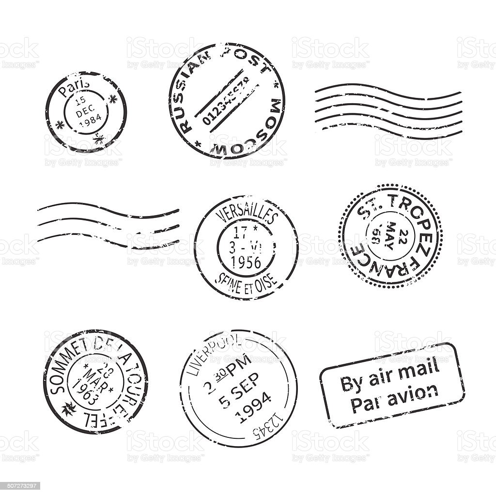 Vector set of vintage style post stamps vector art illustration
