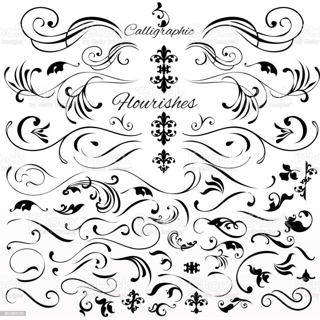 Vector uppsättning vintage stil kalligrafiska element eller blomstrar - Royaltyfri Arrangera vektorgrafik
