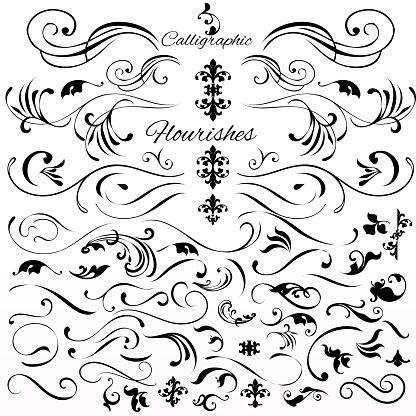 Vector Uppsättning Vintage Stil Kalligrafiska Element Eller Blomstrar-vektorgrafik och fler bilder på Arrangera
