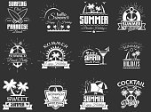Vector set of summertime emblems, badges, labels,  in retro style. Vintage chalkboard summer beach holidays symbols, icons, typography design elements.